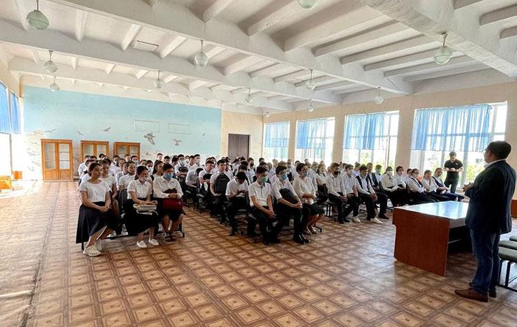 Visiting a school in Uzbekistan
