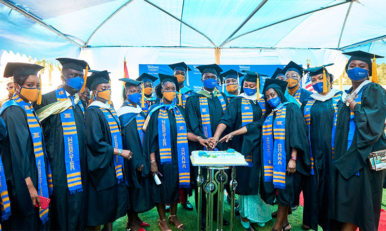 Members of the Class of 2020 at Webster University Ghana Campus