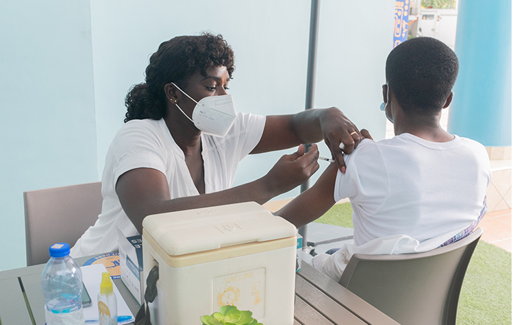 COVID vaccine clinic at Webster Ghana