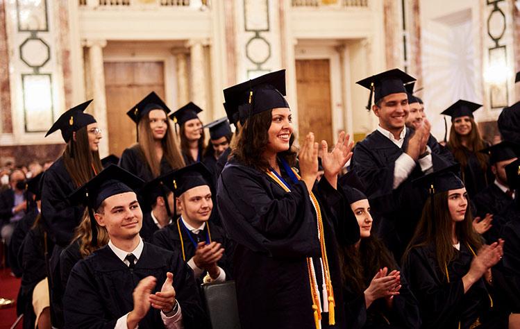 Graduates celebrate in Vienna
