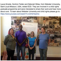 Webster students and faculty visited the ICDI, which posted it on their Facebook