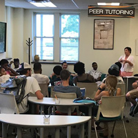 Gorlok Grit Huddles introduce students to topics often covered in academic counseling appointments, including adjusting to change in college; managing time and stress; and more.