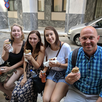 The group celebrated their final week with lunch from the renowned Kostas, a famous spot near the Athens campus known for traditional Greek souvlaki.