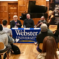 A panel discussion with local music and theater leaders kicked off Brewer's Fall 2017 visit.