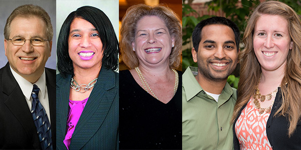 Alumni Association Award Winners: Freeman, Jeffries, Harbeson, Rahmans