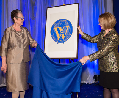 Robb unveiling the new seal with Chancellor Stroble