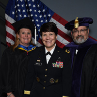 Fort Leavenworth director Katie Ervin, alumna Maj. Gen. Maria Gervais, and Associate Vice President Sean Coleman