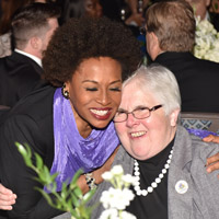 Jenifer Lewis, the 2015 Commencement Speaker, Centennial Gala performer and star of stage and screen, with Annie Stevens, longtime Webster faculty member and member of the Sisters of Loretto.