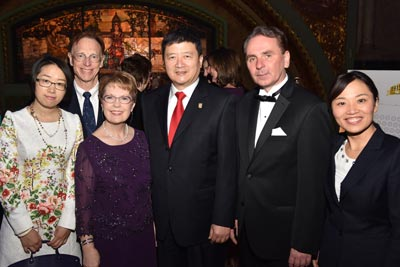 Sun Zheng, dean of Webster's partner Shanghai University of Finance and Economics, along with Webster China's director, Rick Forestel, traveled to St. Louis with colleagues for the gala.
