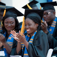 Graduates at the 2018 Webster Ghana commencement ceremony, Webster's fourth in Accra