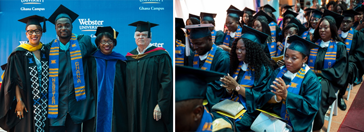 Speakers and graduates at Webster Ghana commencement 2019