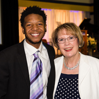 President Stroble and scholarship recipient Jovan McBride