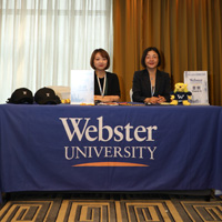 Webster China's Candice Zhao and Nelly Zhang at AUCA