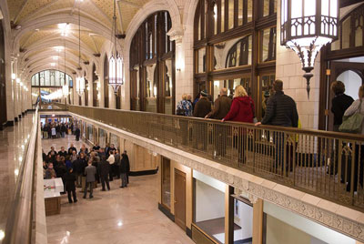 Guests tour the Arcade Building at its grand re-opening as home to Webster's Gateway Campus.