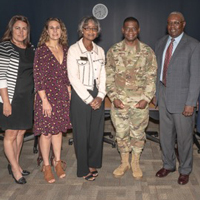 Col. Terrence A. Adams met with Webster Charleston staff June 19.