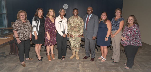 Col. Terrence A. Adams met with Webster Charleston faculty and staff June 19