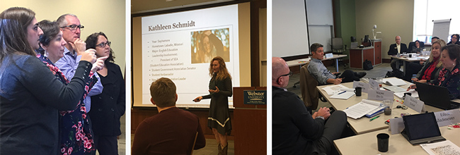 Global Leadership Academy fellows discussed leadership with students and a leadership consultant
