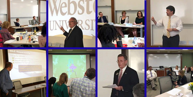 Presenters from different parts of Webster speak to the Global Leadership Academy cohort