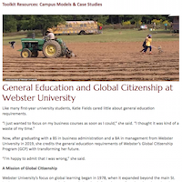Webster's Global Citizenship Program learning outcomes are embedded across the curriculum.