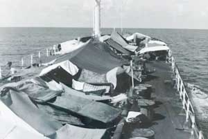 A photo of the ship the Dang family traveled on when leaving Vietnam