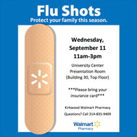 Flu Shots on Campus Wednesday, Sept. 11
