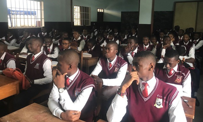A cross section of students from Franky High School in Yaoundé, Cameroon