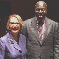 Webster University President Beth Stroble with Ambassador Barfuor Adjei-Barwuah of the Republic of Ghana