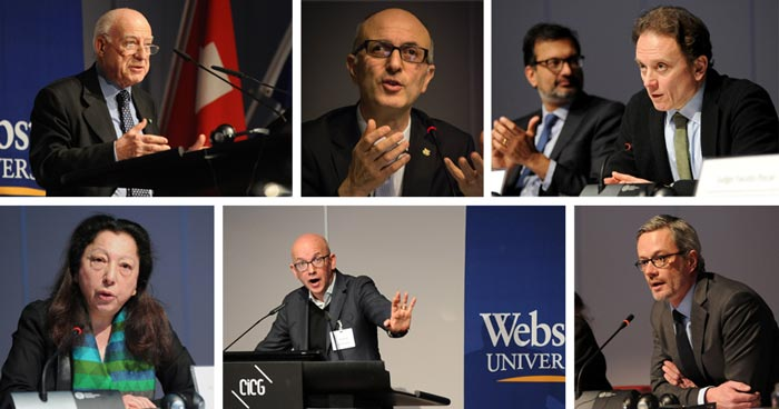 Among the conference's featured speakers (clockwise from top left): Fausto Pocar, Nicola Carlone, Oreste Foppiani, Olivier Coutau, Yves Daccord, and Elisabeth Laurin. [Photos by Oliver O'Hanlon; Carlone photo by Jess Wright]