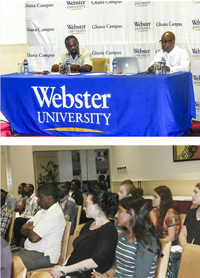 The lecture focused on ethical campaigning in the U.S. and in Ghana.