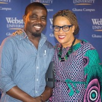 Webster Ghana campus directa Christa Sanders with alumnus Noble Kofi Nazzah