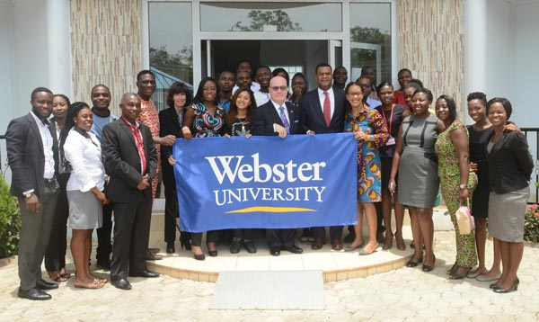 Webster University (Ghana Campus) hosted the U.S. Ambassador to Ghana, Robert P. Jackson, and the U.S. Assistant Secretary of Commerce, Marcus Jadotte.
