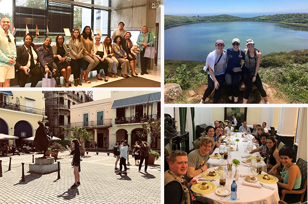 Short-term study abroad trips over spring break included Athens, Costa Rica, Havana and Galapagos.