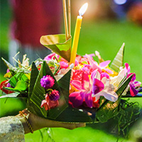 Loy Krathong, which refers to the lotus-shaped baskets (krathong) that people float (loy) down waterways across Thailand. Traditionally made from the trunk of a banana tree and decorated with banana leaves and other flowers, each krathong has its own unique design and personality.