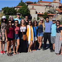 Journey to Greece students visiting the monasteries of Meteora during their program excursions.