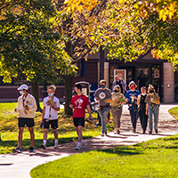 Students walking on Webster Groves campus, Fall 2020