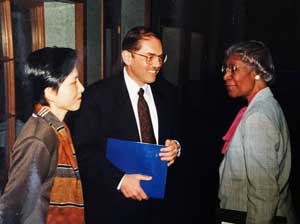 Congresswoman Shirley Chisholm during her visit to campus
