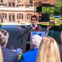 President Stroble spoke to the significance of Browning Hall.