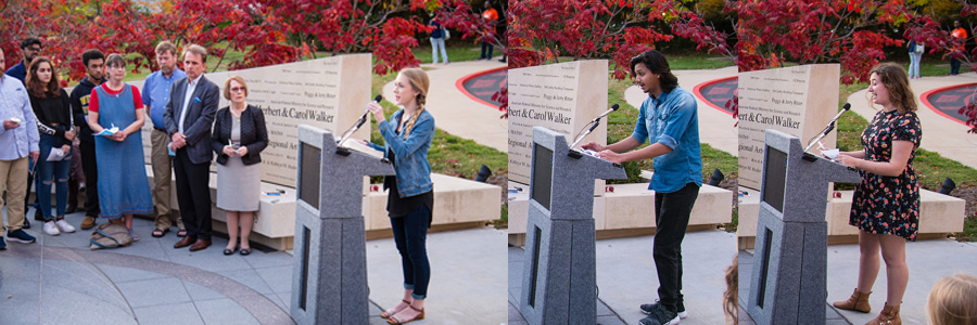 Students representing different faiths spoke at the vigil