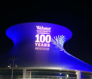 Webster University lit up the city for the Centennial kickoff.