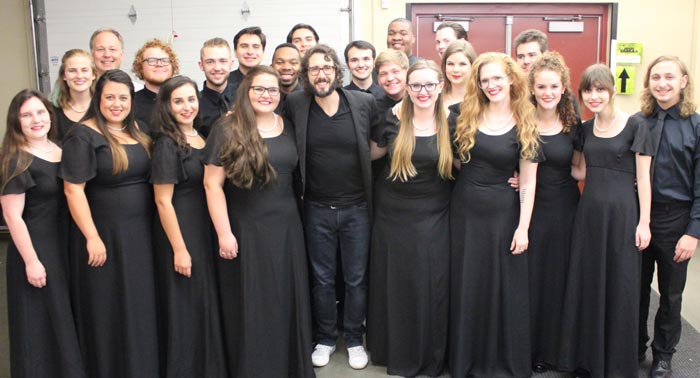 "The Chamber Singers joined Groban on stage in Kansas City for ""an emotional reading of ""Dust and Ashes,"" which he will perform on Broadway."