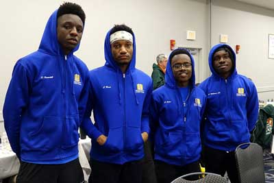 "Webster's ""C-Team"" was the only all African-American team playing in this year's tournament. Pictured from left-to-right are Shawn Swindell, James Black, Joshua Colas (co-captain) and Justus Williams (co-captain)"