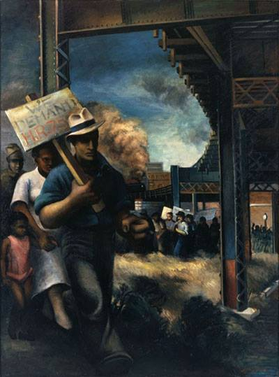"Joe Jones' painting ""We Demand"" showing a man on a picket line"
