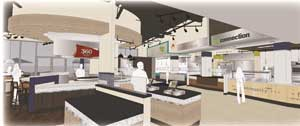 Rendering of the redesigned interior of Marletto's Marketplace