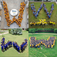 Students Form 'W' Across World of Webster