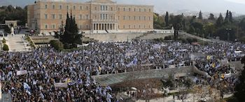 An estimated 1.5 million rallied in Athens over the issue.
