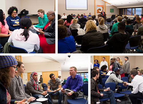 Scenes from the town hall and small group discussions