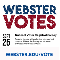 Webster Votes resources help students engage in and have access to the voting process.